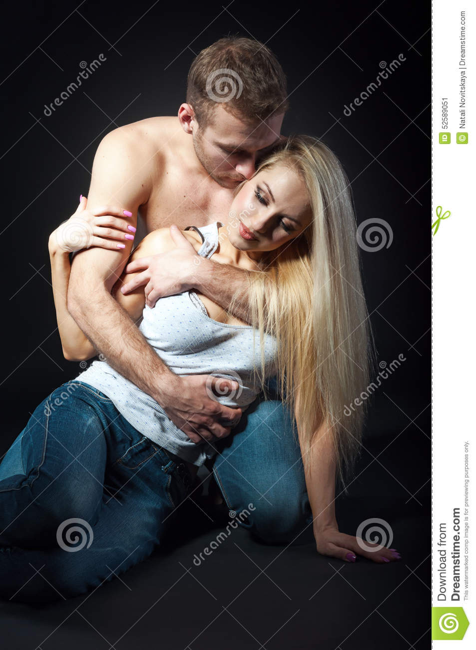 and girl hugging Nude boy