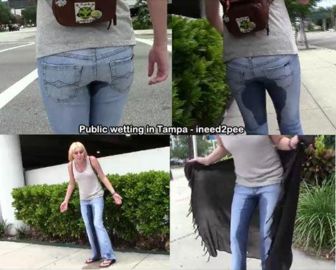 public Girl pee pants