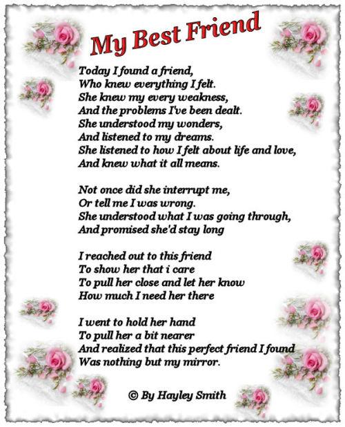 friend I love poems you