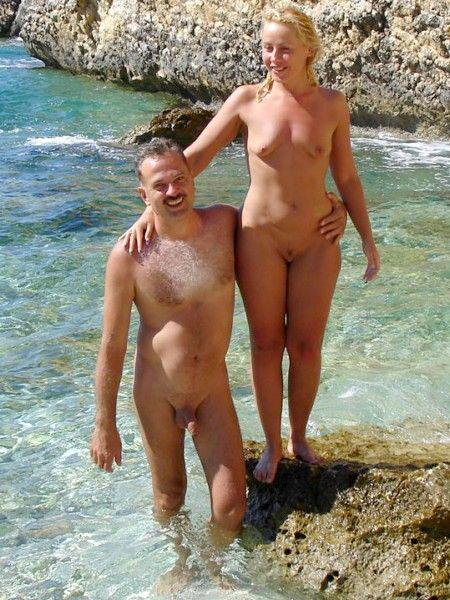 the couple beach Mature nude at