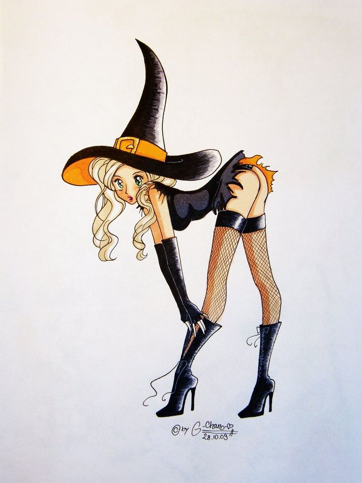 witch girls Halloween up cartoon sexy pin