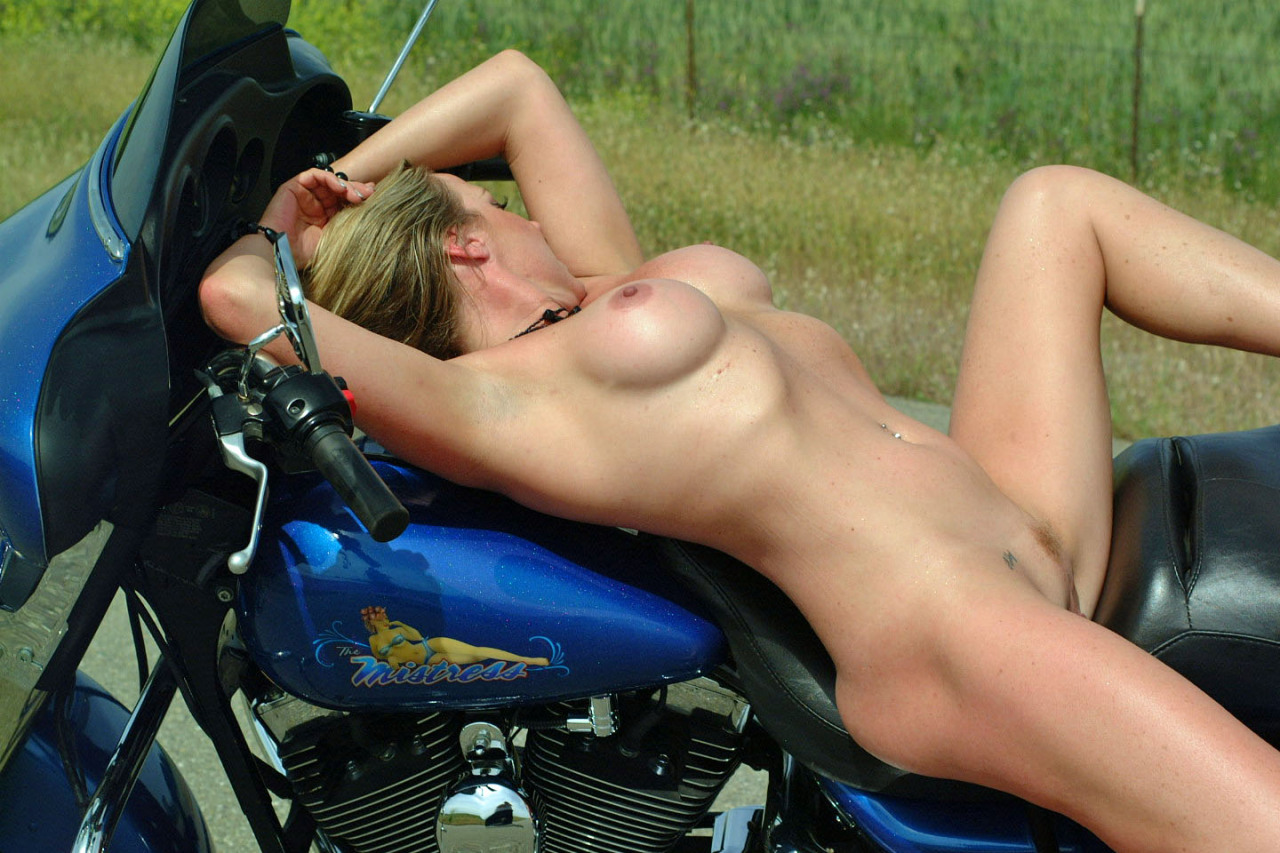 girls over motorcycle bent Nude