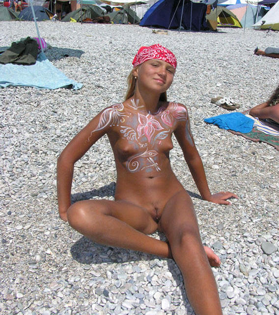 paint girls camp nudists young Body