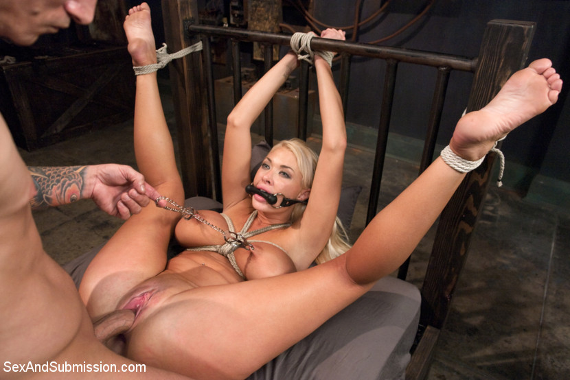 Blindfolded white cuckold in bondage