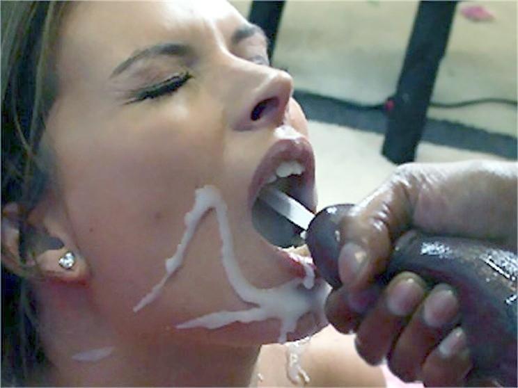 Big black cock cum in mouth