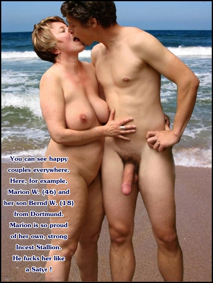 Captions nude beach mom son