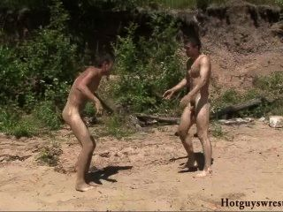 fighting Vintage nude males