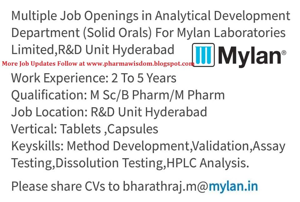 job opening laboratory Analytical