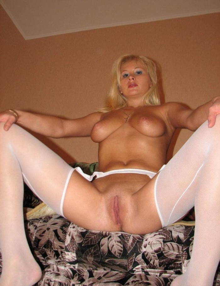 white stockings lingerie blonde Amateur