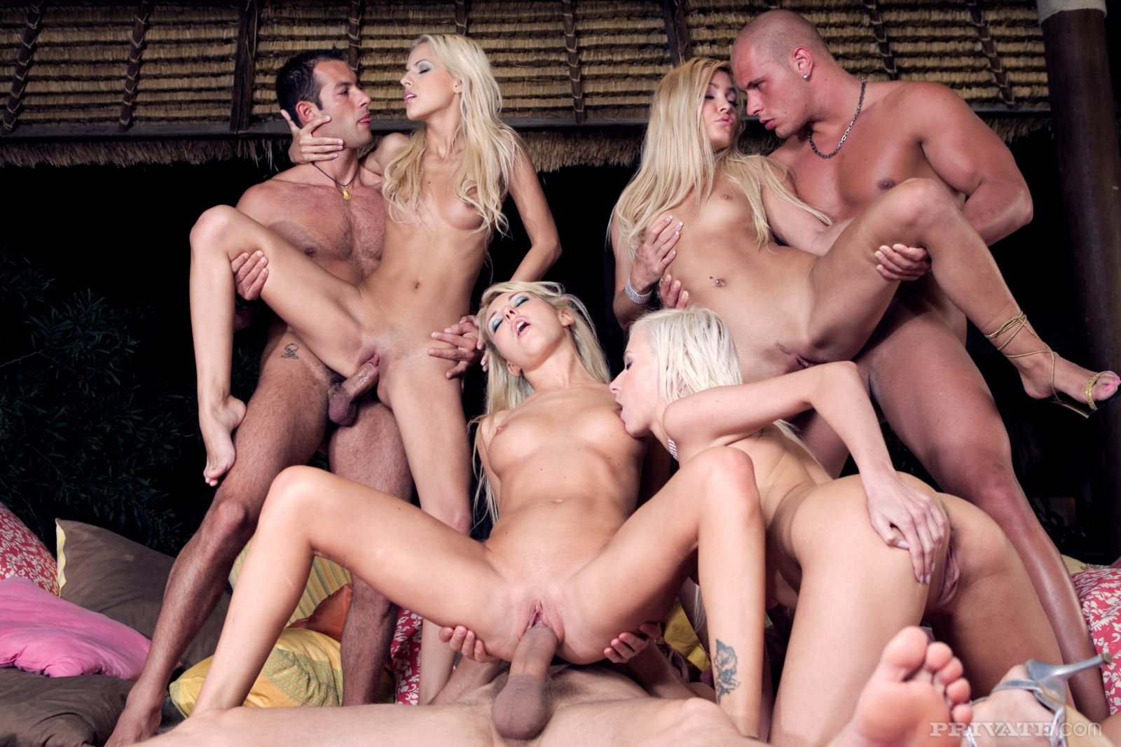 blonde fucking Three guys
