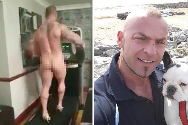 Guy Running On Treadmill In High Heels In Gym