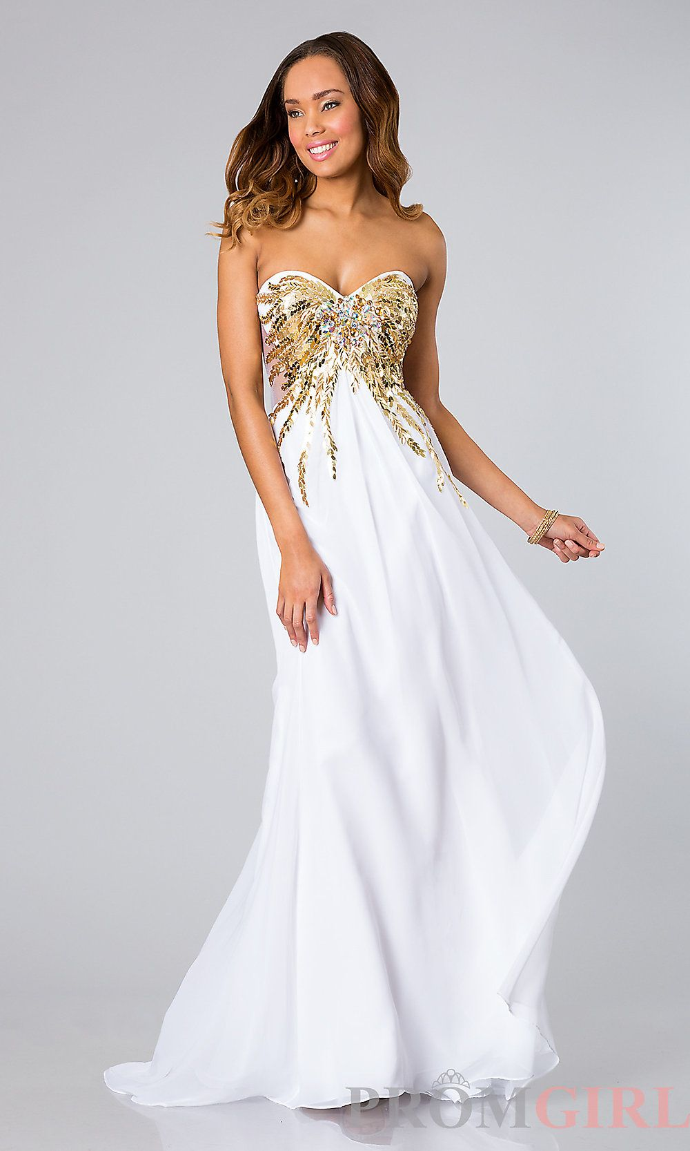 gold dresses and White prom