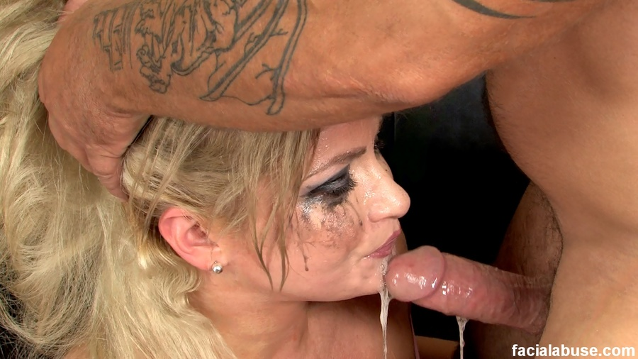 cock gags on Blonde milf