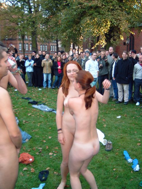 college campus girls public Naked
