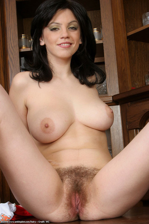 brunette Nude hairy bush