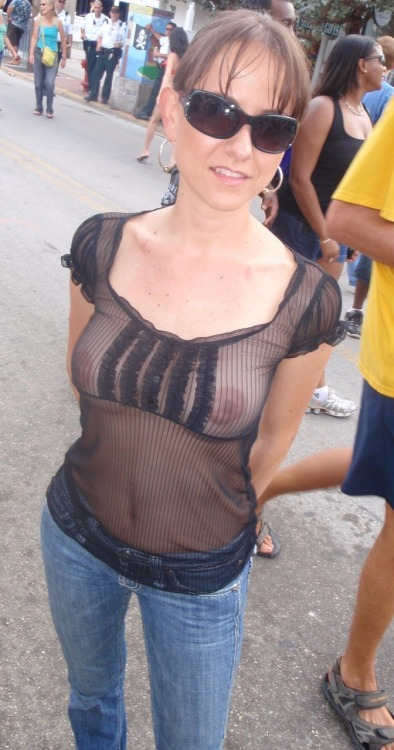 through shirt nipples see Wife public