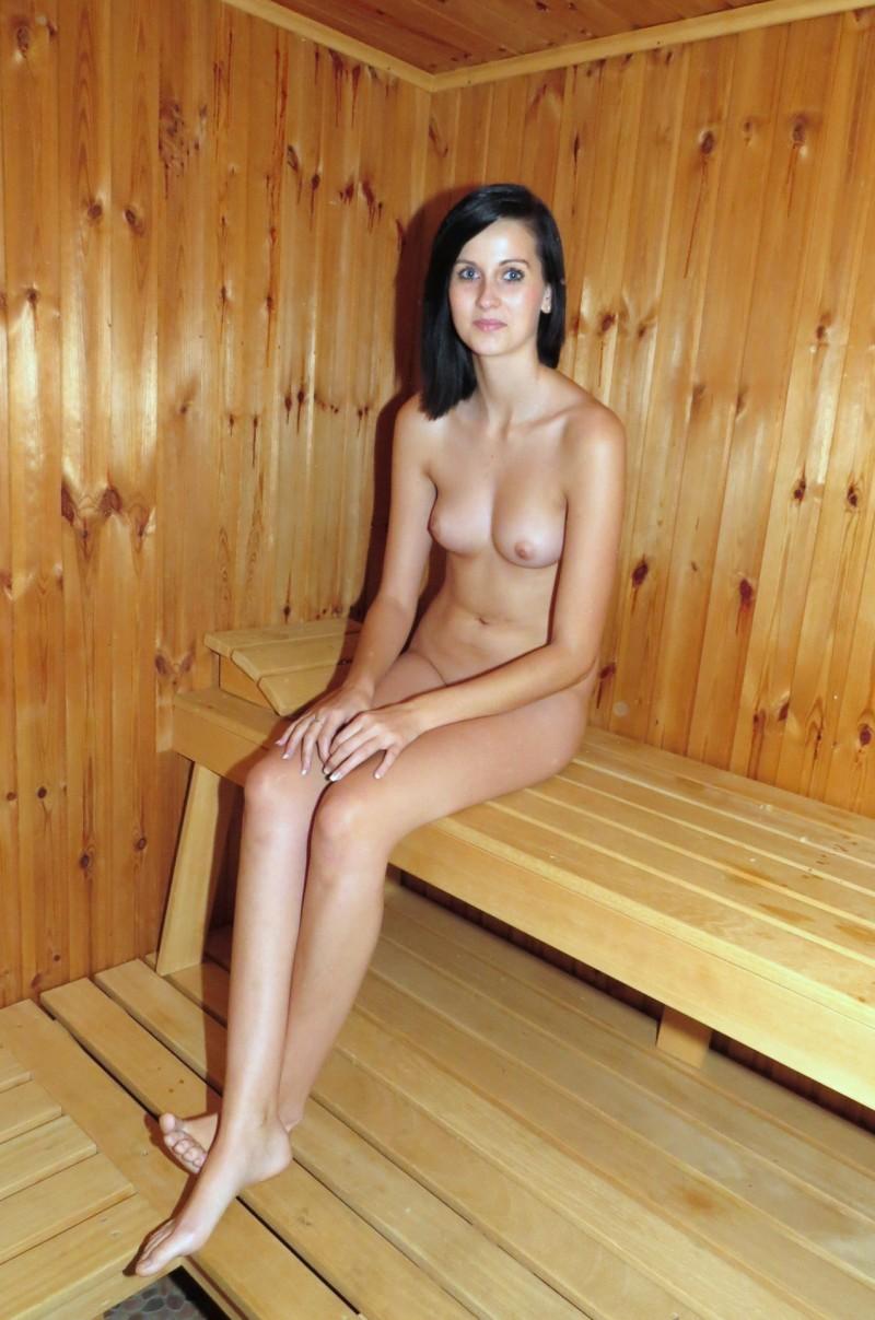 wet Naked sauna girl