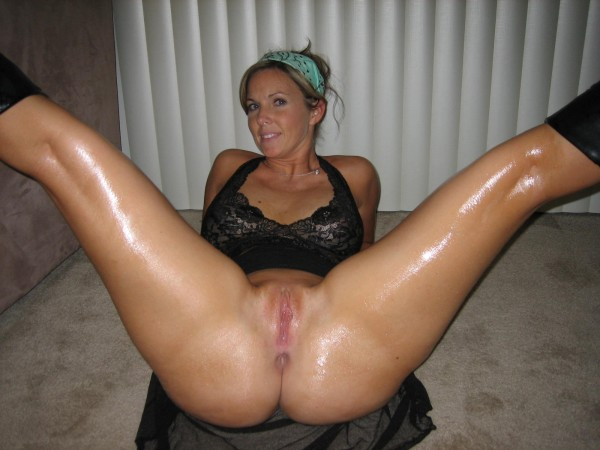 spread Shaved milf pussy legs
